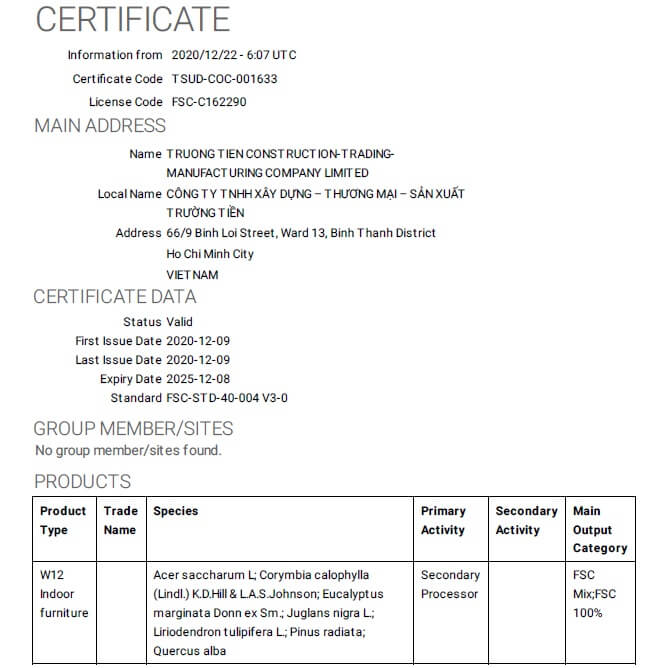 Công ty Trường Tiền đạt chứng nhận FSC dưới sự hướng dẫn của VIETNAM CERT