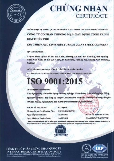 Chứng nhận ISO 9001 của Kim Thiên Phú